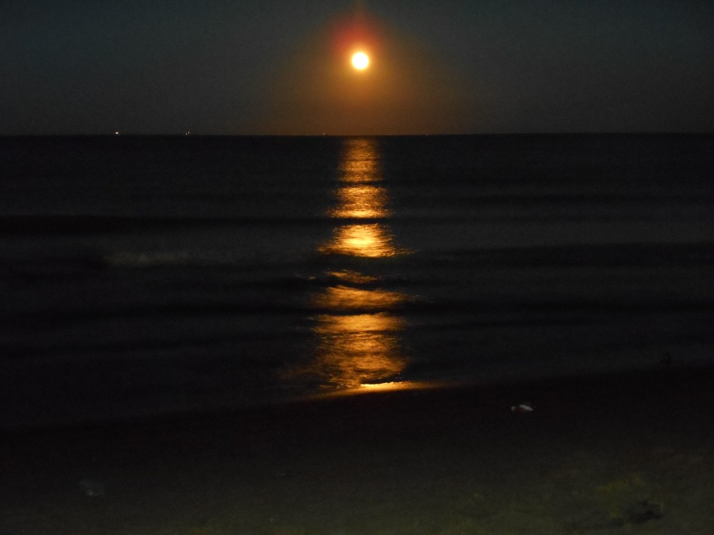 moonrise at sea in Martil, Morocco